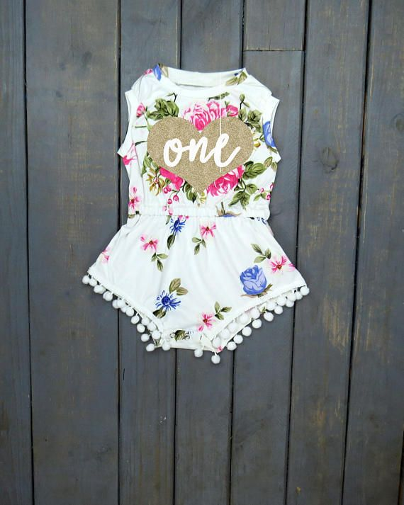 96f621bd4 First Birthday Outfit Floral Romper Pom Pom Romper First | cute ...
