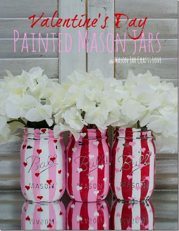 DIY Valentine Decor Ideas - Valentine Heart Jars - Cute and Easy Home Decor Projects for Valentines Day Decorating - Best Homemade Valentine Decorations for Home, Tables and Party, Kids and Outdoor - Romantic Vintage Ideas - Cheap Dollar Store and Dollar Tree Crafts http://diyjoy.com/easy-valentine-decorations