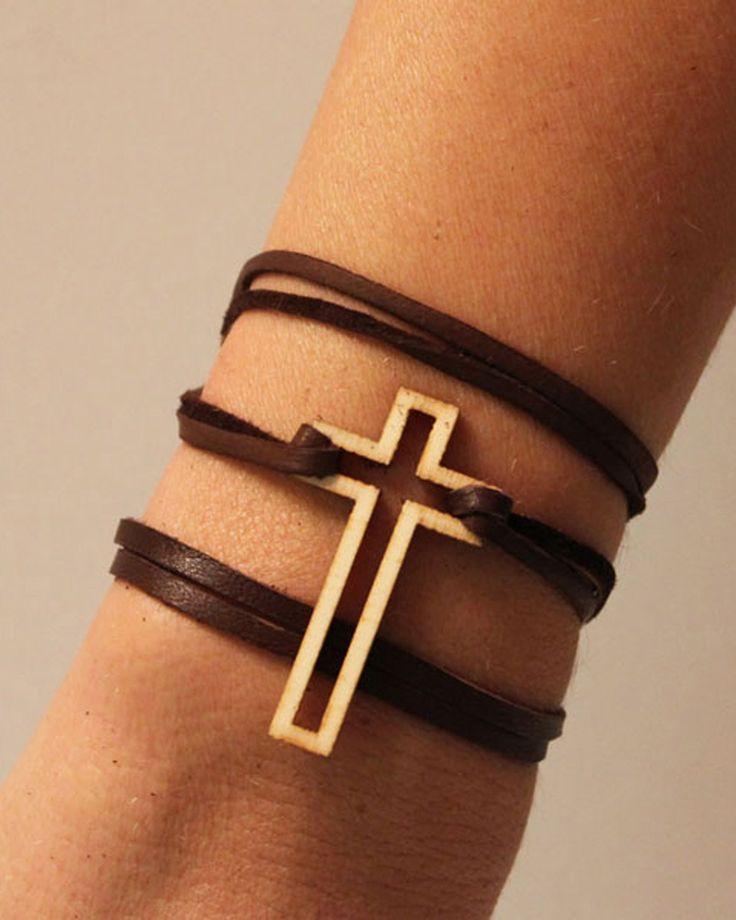 Cross Leather Wrap Bracelet ♥