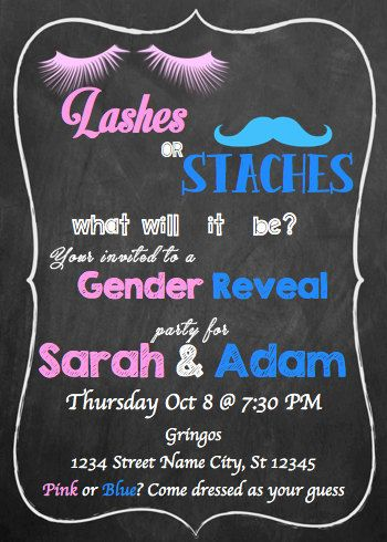 Staches or Lashes invite, staches or lashes gender reveal ...