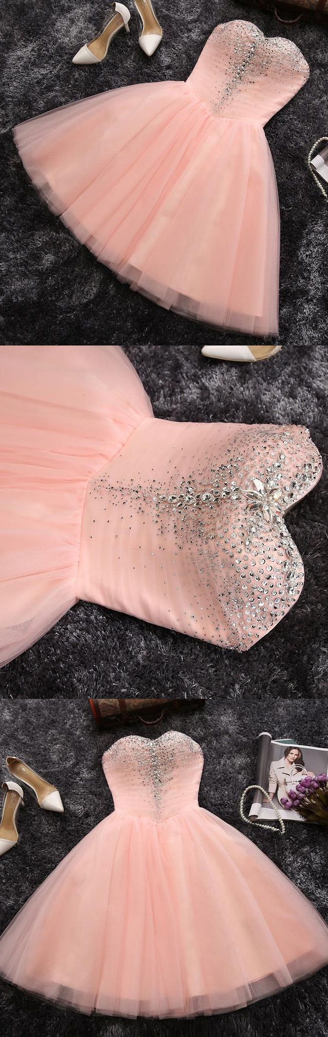 Sleeveless Homecoming Dresses, Pink Sleeveless Homecoming Dresses, Short Party Dresses, 2017 Homecoming Dress Cheap Tulle Sequins Short Prom Dress Party Dress WF02G42-163
