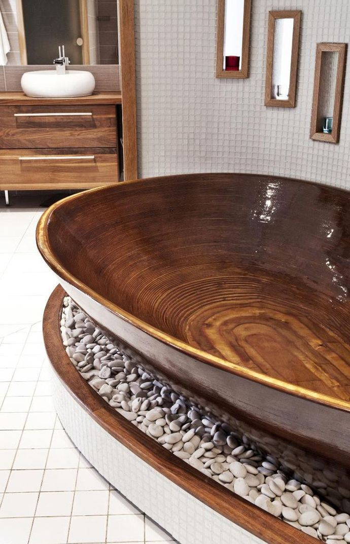 15 Wooden Bathtubs That Send You Back To Nature | http://www.designrulz.com/design/2014/02/wooden-bathtub/ I AM IN LOVE!