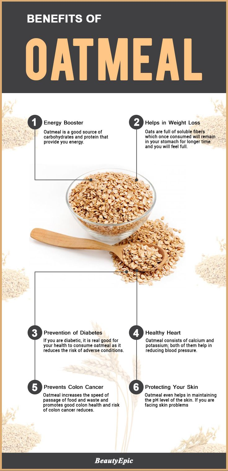 Benefits from eating oatmeal come from its containing potassium and calcium, making it heart healthy and reducing blood pressure. It also can improve skin pH. Additionally, oats promote good colon health.
