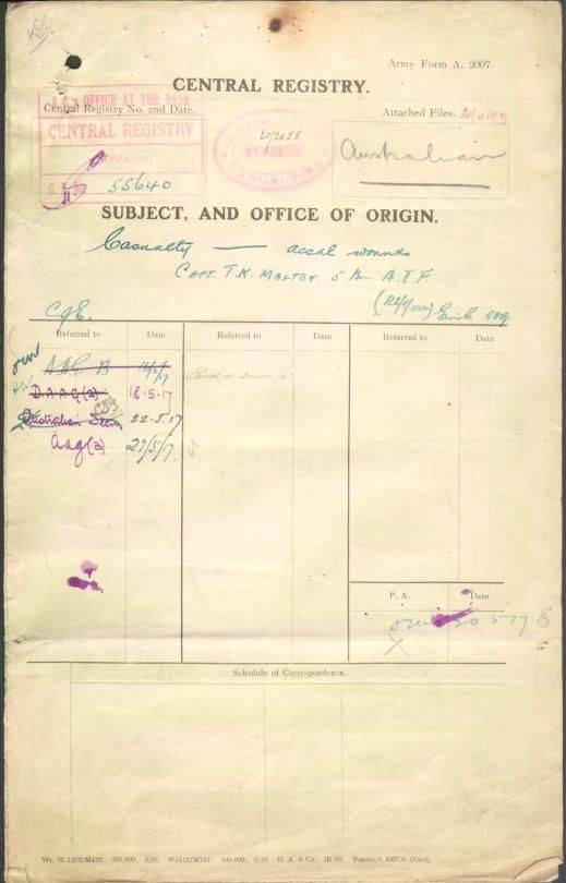 MALTBY Thomas Karran : Service Number - Captain : Place of Birth - Barnadown VIC : Place of Enlistment - N/A  : Next of Kin - (Wife) MALTBY M