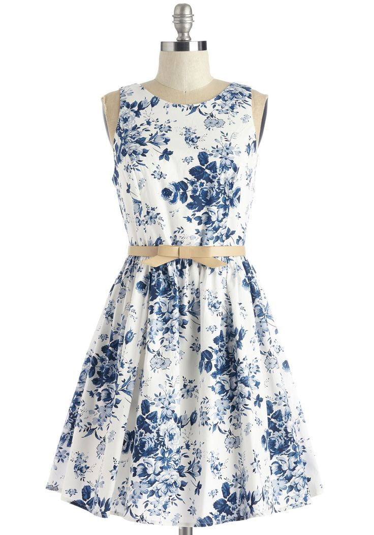 Soak Up the Sun Belt Dress. When you take your peppy panache to the southern coast in this white floral dress, youre welcomed by the warm breeze and even warmer smiles.  #modcloth