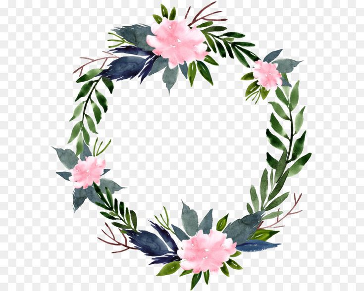 Watercolor flower ring round border | Bunga cat air, Clip ...