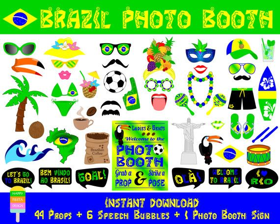 Brazil Photo Booth Props–51 Pieces (44 props, 6 speech bubbles, 1 photo booth sign)-Brazilian Party Photo Booth Props-Instant Download