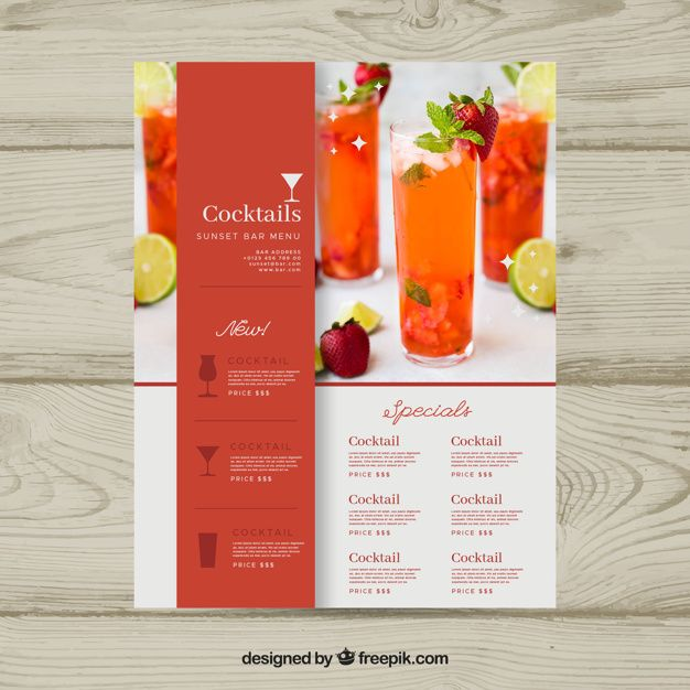 Download Cocktail Menu Template With Photo For Free Design De