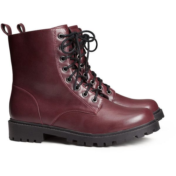 H&M Boots ($35) ❤ liked on Polyvore featuring shoes, boots, botas, sapatos, burgundy, polyurethane shoes, rubber sole boots, burgundy boots, rubber sole shoes and burgundy shoes