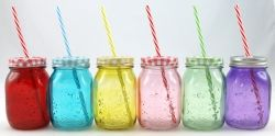 Drickburk, färgat glas