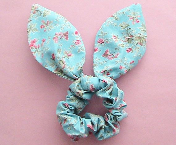 Dolly Bow Scrunchie-Red Butterfly on Blue by JooSweetie on Etsy