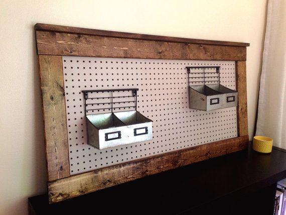 Rustic Peg Board Display Farmhouse Decor Nursery Diaper Caddy Storage