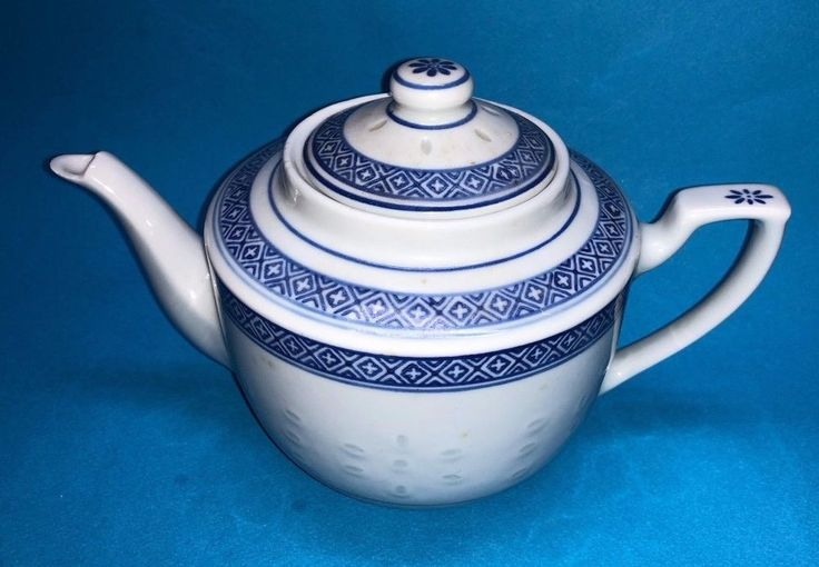 #Chinese #RiceEyesTeapot Translucent White and Blue Porcelain Signed #China