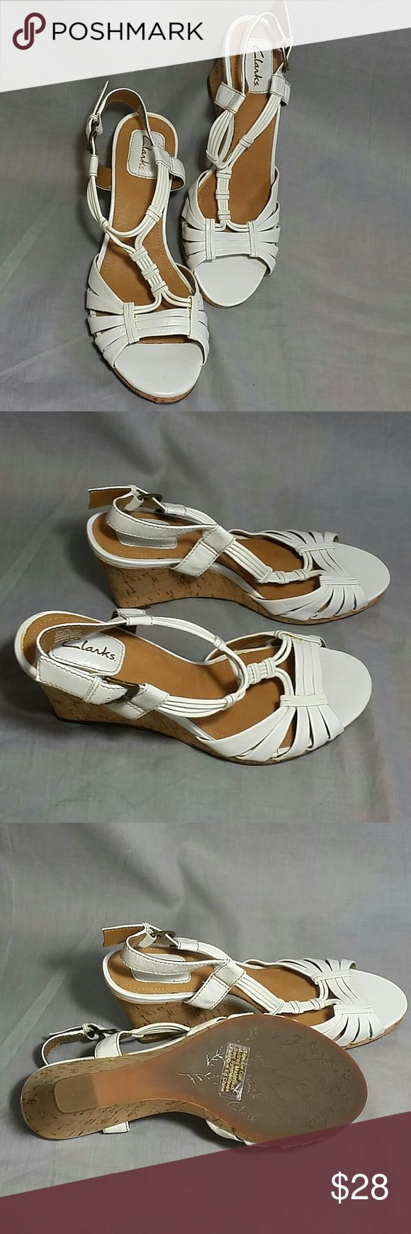 """Clarks Sandals Size 7 M Leather Ankle Strap Heels Heels 3"""" item is in a good condition NO PETS AND SMOKE FREE HOME. Clarks  Shoes Sandals"""