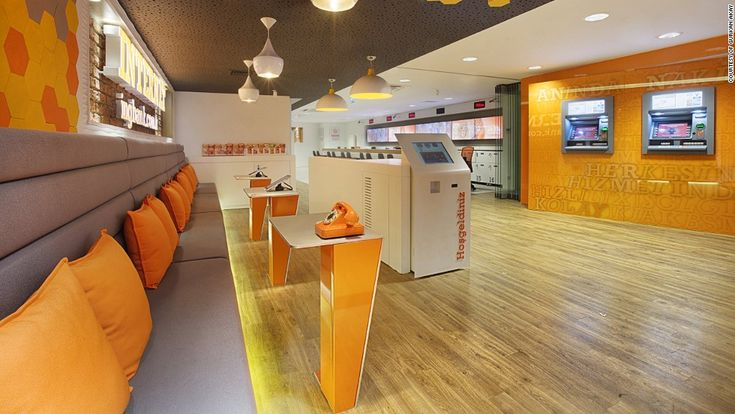 """ING bank also partnered with design consultancy Allen International to create the first branch in Turkey without traditional tellers. The branch also features the latest """"Q-matic"""" queuing system which allows customers to join lines remotely before they arrive at the bank."""
