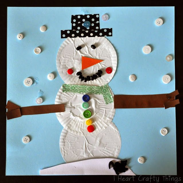 I HEART CRAFTY THINGS: Cupcake Liner Snowman Craft