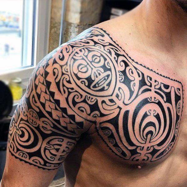 Polynesian Maori Mens Shoulder Tattoo