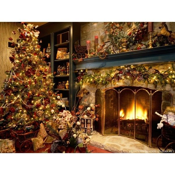 Christmas Tree and Fireplace wallpaper ❤ liked on Polyvore