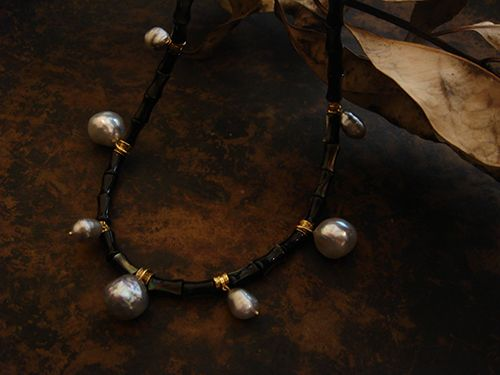 [Ancient Delusion : 014] Necklace-K18YG/Pearl/Mother of Pearl