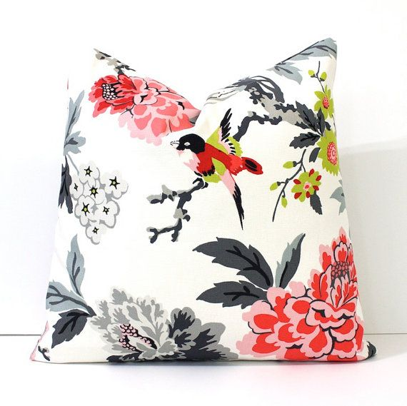 Modern Pink and Black Decorative Designer Pillow Cover Accent . blossoms oriental floral chinoiserie grey ivory charcoal red chartreuse… ***Would be great mixed with patterned black pillows  Etsy shop Whitlockbndco