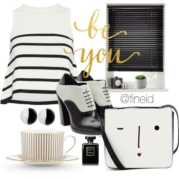 Black and White by fineid on Polyvore featuring moda, Cardigan, Jil Sander, Lulu Guinness, Antica Murrina, Chanel and Lenox