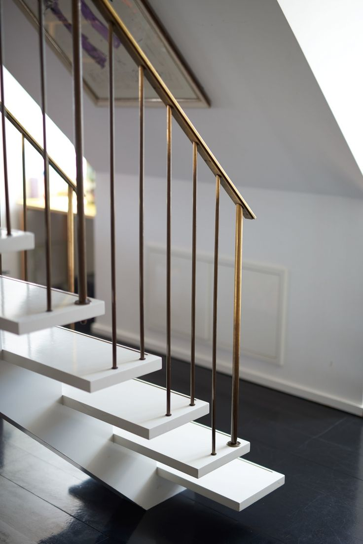 Best For The Home Modern Luxury Floating Gold White Stairs 400 x 300