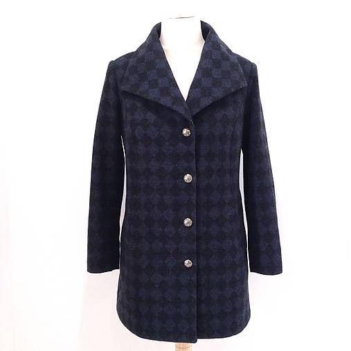 LuxuryCouture / Vlnený kabát KOSOŠTVORČEKY II