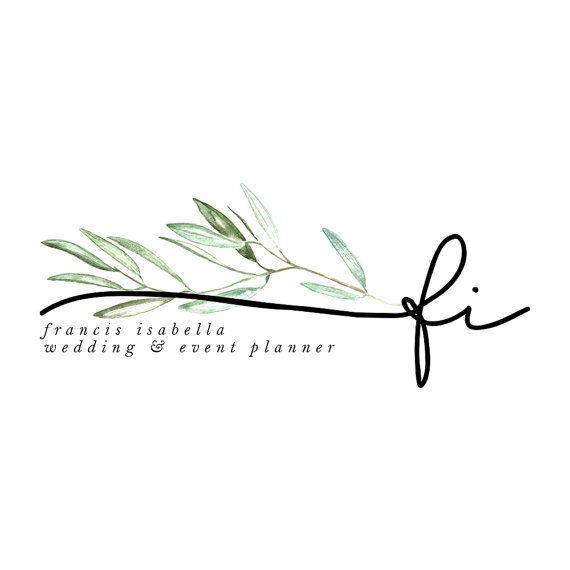 premade logo design olive branch initial by saltandcove on Etsy