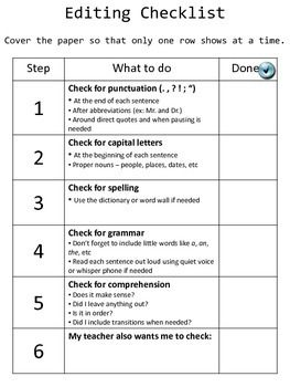 If you have students who struggle with the editing process of writing or avoid the task altogether, the editing checklist provides an easy to read tool that lists step-by-step tasks and exactly what to look for in each task. Also included is a peer review checklist so that students know exactly what to look for when reviewing a writing assignment.