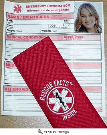 Seatbelt Medical Alert...a really good idea for everyone, but especially for children or the elderly!