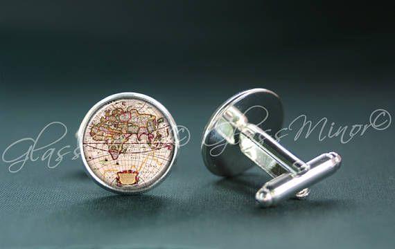 Vintage Old Map Cufflinks, World Map Antique Wanderlust Travel Nautical Groomsmen Usher Cufflinks, Wedding Cufflinks, Gift for Him