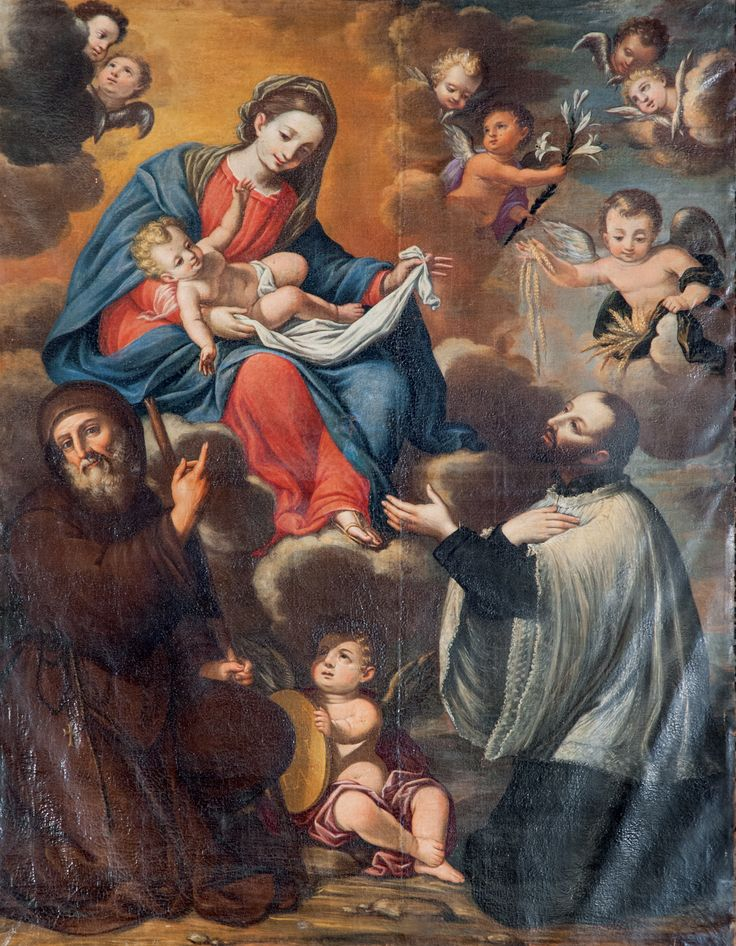 La pala d'altare del '600 con la Vergine tra S. Francesco da Paola e Gaetano di Tiene, il Santo della divina provvidenza.