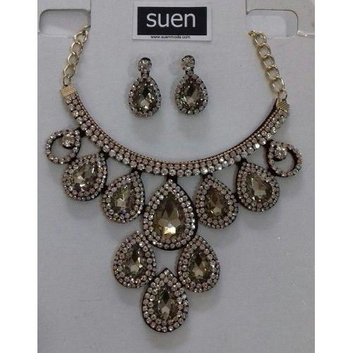 conjunto collar-pendientes color ambar | suen-Vestidos de fiesta baratos|Vestidos online