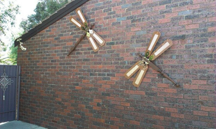 Repurposed Ceiling Fan Blade Dragonflies Gardening