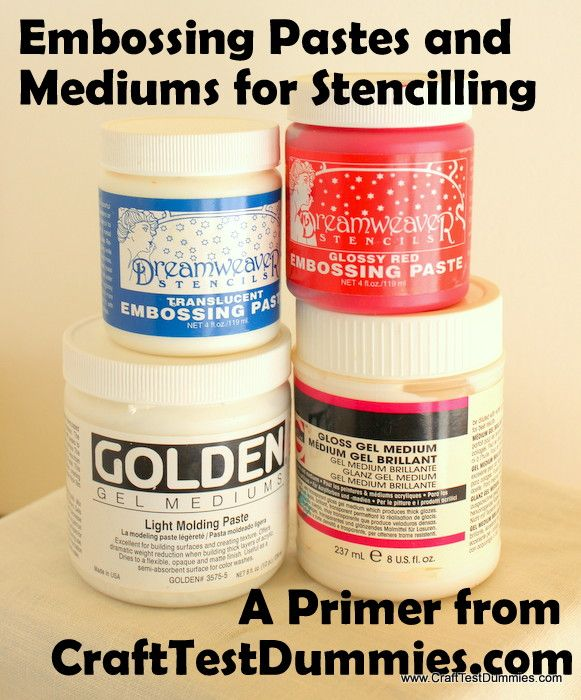 Introduction to Embossing Pastes, Gels, and Mediums for Stencilling.
