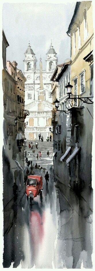 Roma, paisaje urbano a la acuarela