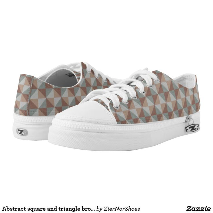 Abstract square and triangle brown grey pattern printed shoes