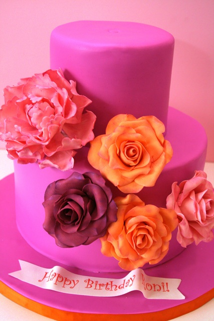 Bright Sugar Roses and Peony Custom Birthday Cake New Jersey: Pink Flowers, Flowers Cake, Food Frosted Sweets Cakes, Flower Cakes, Beautiful Cakes, Pink Cake, Birthday Cakes