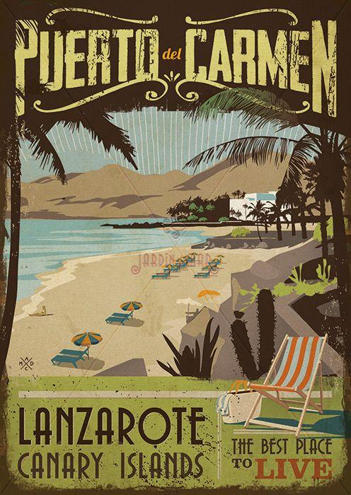 Handmade drawing of vintage signs. Puerto del Carmen - Lanzarote Jardín del Mar - Artesanos Lanzarote #drawing #vintage #wooden #signs #artesania #lanzarote #puertodelcarmen