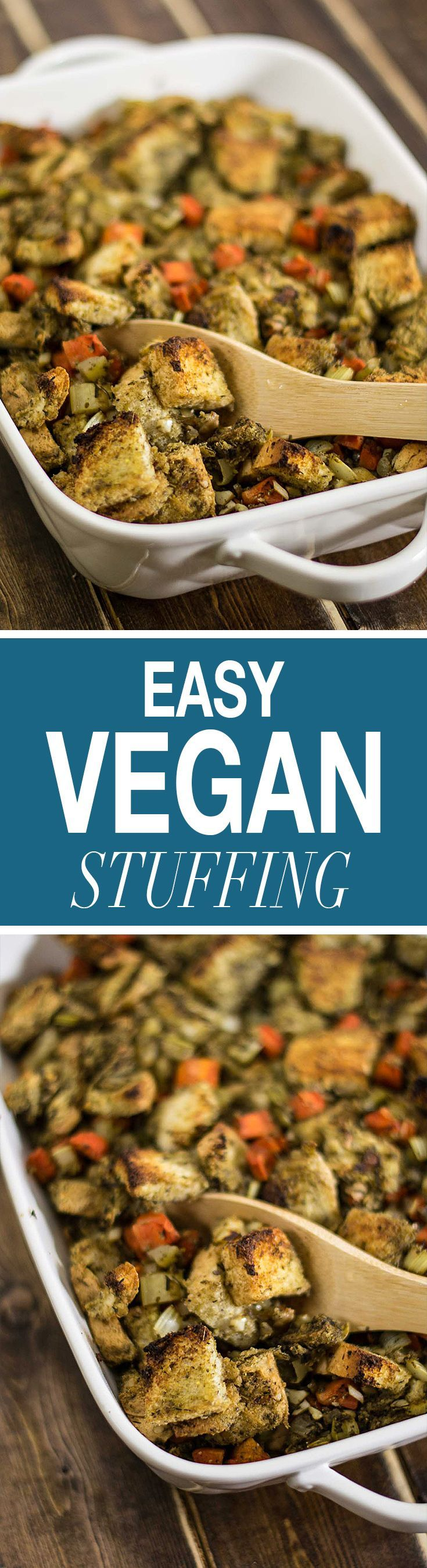 This easy to make vegan stuffing is delicious and packed full of flavor! Make it a Thanksgiving tradition!