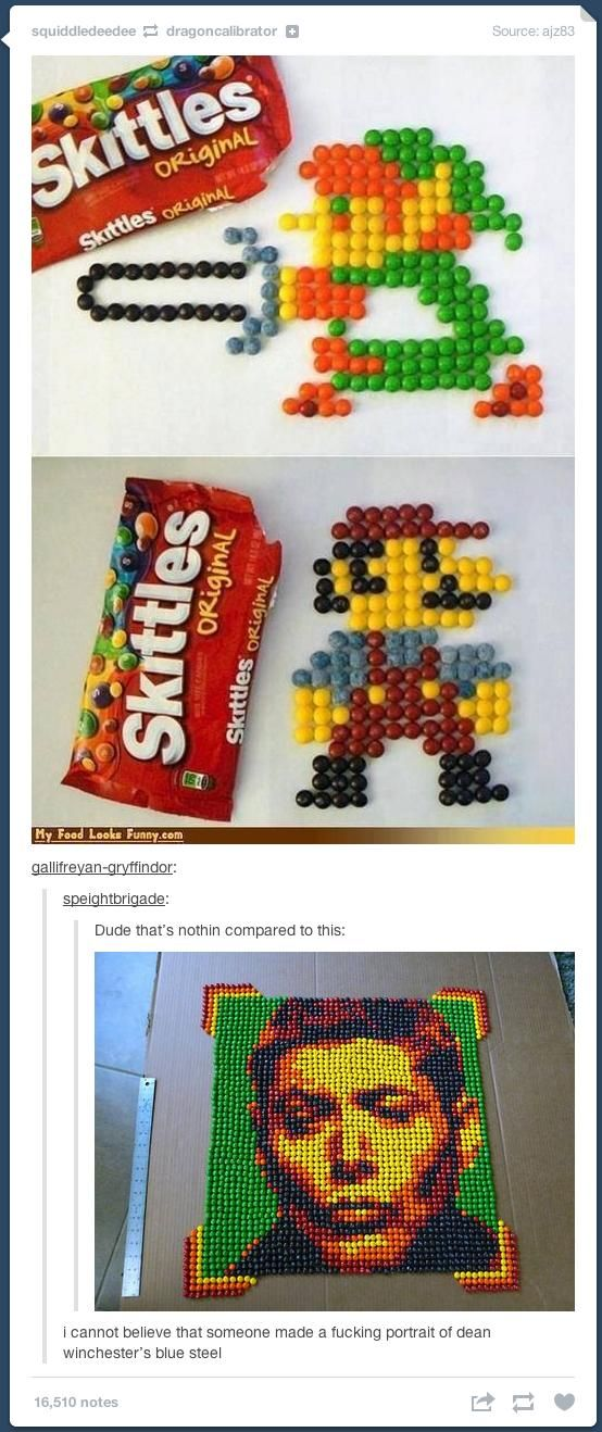 blue steel skittles<<<<< i would like to point out that Misha Collins paid to have that made!