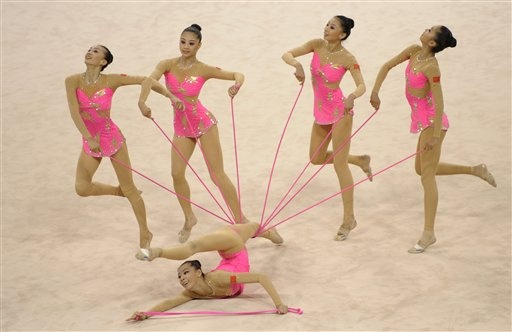 China's gymnast team perform during the rhythmic gymnastics group all-around qualifications - Beijing Olympics 2008