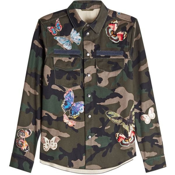 Valentino Printed Cotton Shirt ($2,229) ❤ liked on Polyvore featuring tops, green, mens camo shirts, mens butterfly collar shirt, mens elbow patch shirt, mens green shirt and mens camouflage shirts