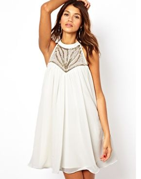 Embellished High Neck Swing Dress