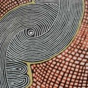 Australian Dreamtime Creations   Womens Ceremony - Nabulla Scobie Napurrula - acrylic on Belgium Linen, size 172 cm x 120 cm, 2005
