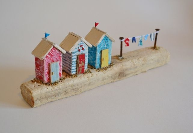 Handmade Cornish Driftwood Miniature Red, White & Blue Beach Hut Scene  £25.00