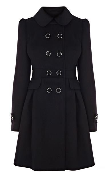 Драпповое женское классическое черное пальто
