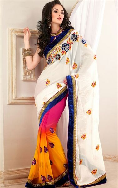 Picture of Impressive Pink and off white and Orange Color Party Wear Saree
