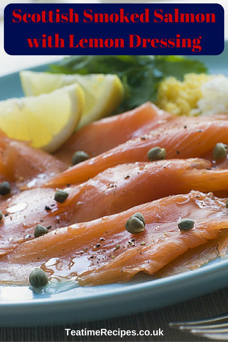 Smoked salmon is served with a tangy but sweet extra-virgin olive oil, lemon and black pepper dressing, along with a few capers. This makes a light and healthy starter.