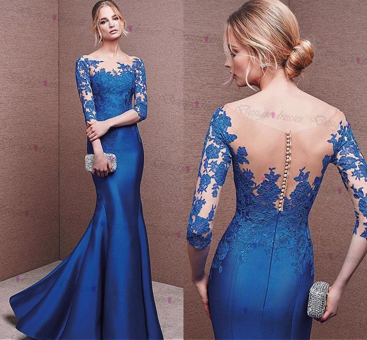 Stunning Tulle & Satin Bateau Neckline 3/4 Length Sleeves Mermaid Evening Dresses With Lace Applique on Luulla